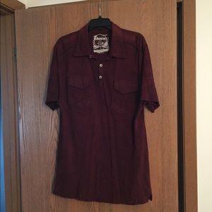 Buckle BLACK Label - dark red short sleeved shirt